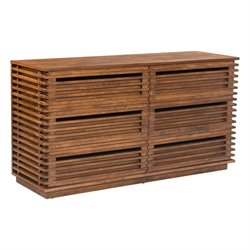 ZUO Linea 6 Drawer Dresser in Walnut