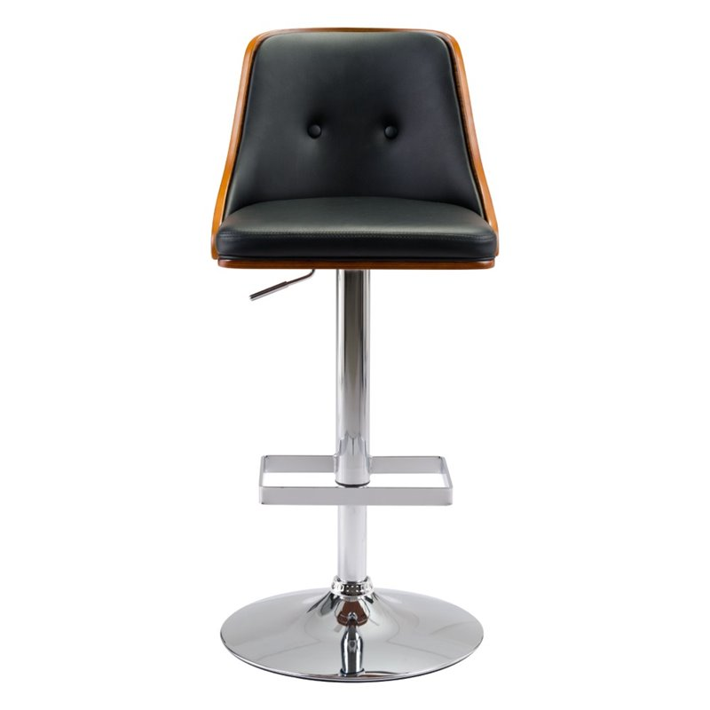 Charmant ZUO Scooter Faux Leather Adjustable Bar Stool In Black