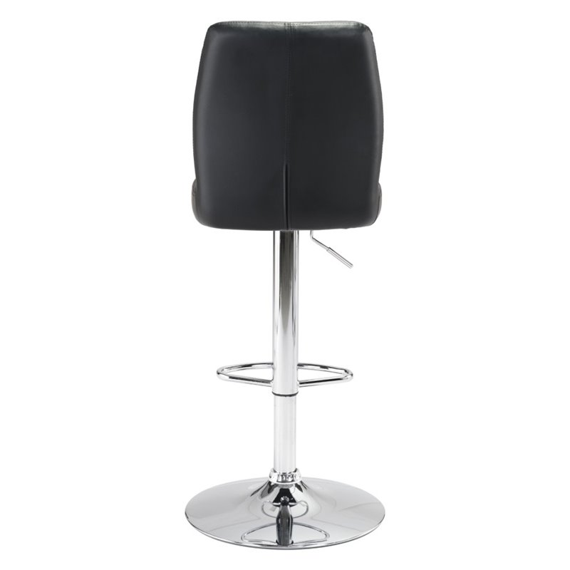 ZUO Willful Faux Leather Adjustable Bar Stool In Black