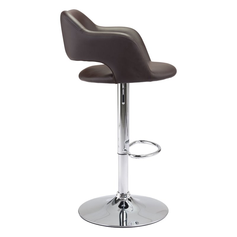 ZUO Hysteria Faux Leather Adjustable Bar Stool In Espresso