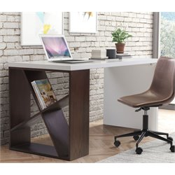 Zuo Slake Desk in Espresso and White