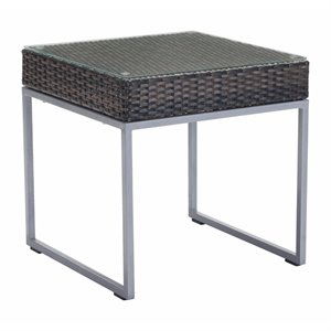Zuo Malibu Patio End Table in Brown and Silver