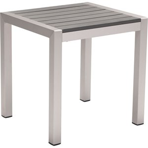 Zuo Cosmopolitan Patio End Table in Brushed Aluminum