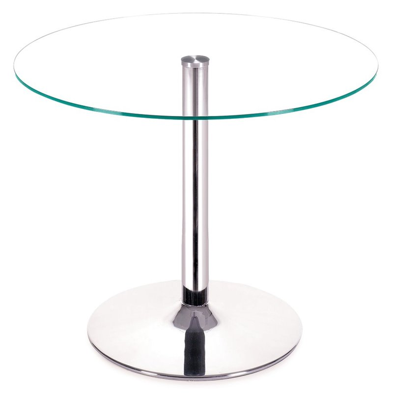 Zuo Galaxy Casual Glass Top Dining Table With Chrome Base 102151