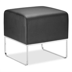 Zuo Plush Compact Ottoman in Leatherette - Black