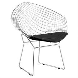 Zuo Net Fabric Dining Side Chair in Chrome - Black