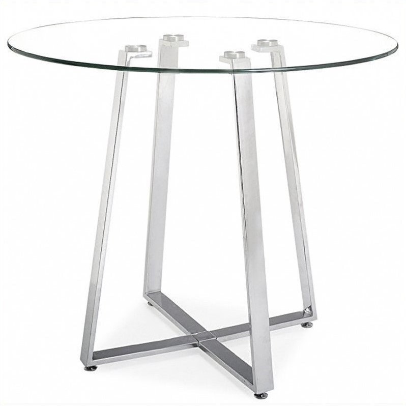 Zuo Lemon Drop Glass Top Counter Table with Chrome Base
