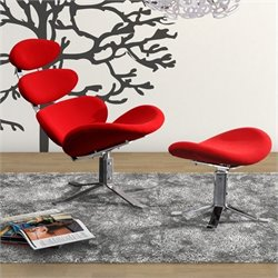 Zuo Petal MicroFiber Lounge Chair And Ottoman in Red