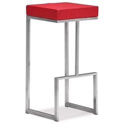 ZUO Darwen Modern Leatherette Bar Chair in Red