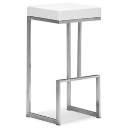ZUO Darwen Modern Leatherette Bar Chair in White