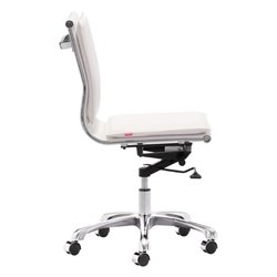 ZUO Lider Plus Modern Leatherette Armless Office Chair in White