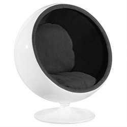 ZUO MIB Modern Fiber Glass Egg Chair in Black