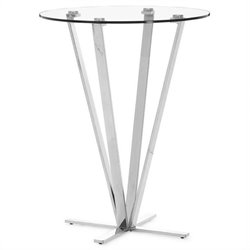 ZUO Mimosa Modern Glass Bar Table in Stainless Steel