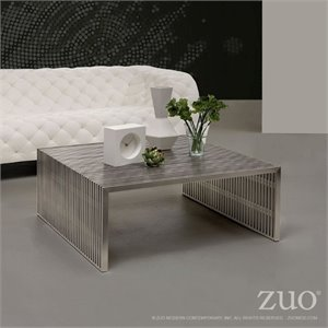 ZUO Novel Modern Square Coffee Table in Stainless Steel