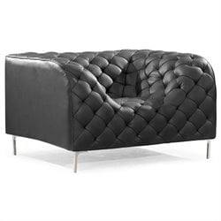 ZUO Providence Modern Leatherette Arm Chair in Black