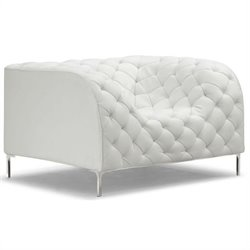 ZUO Providence Modern Leatherette Arm Chair in White