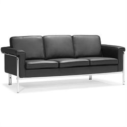 ZUO Singular Modern Faux Leather Sofa in Black