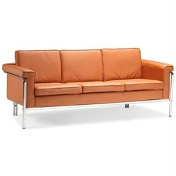 ZUO Singular Modern Leatherette Sofa in Terracota
