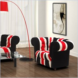 ZUO Union Jack Modern Microfiber Arm Chair in Red White & Black