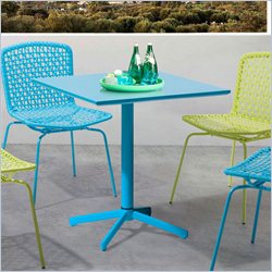 ZUO Big Wave Folding Square Table in Aqua
