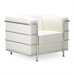 Zuo Fortress Leather Club Arm Chair in White