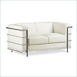 Zuo Fortress Love Seat in White
