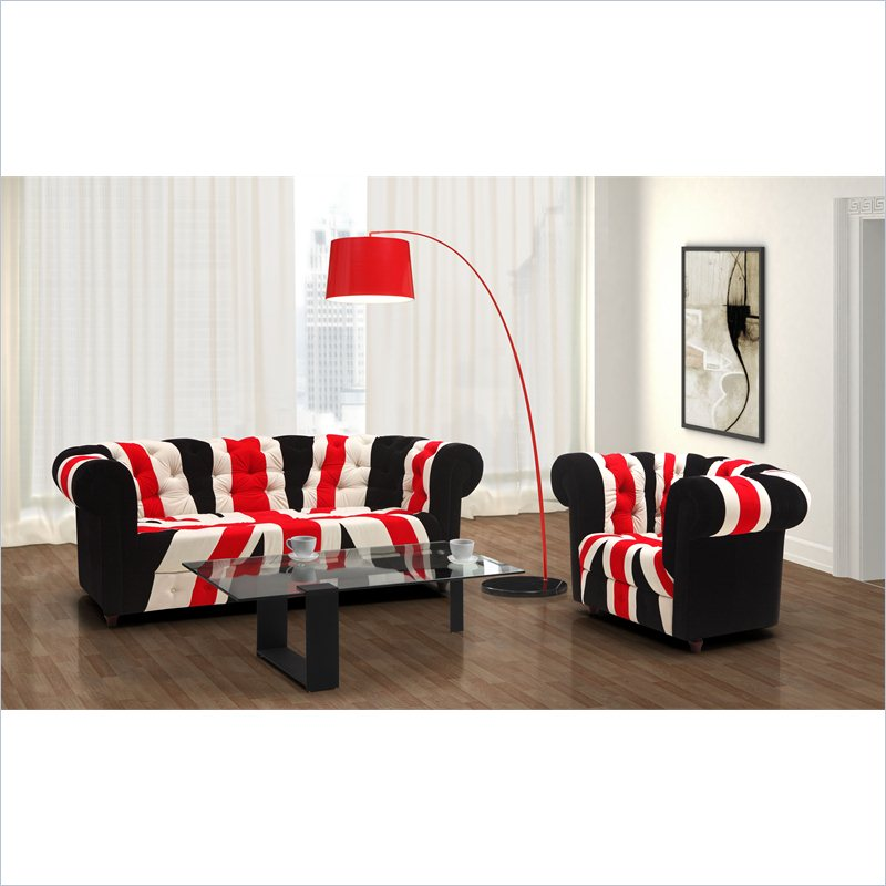 Union Jack Modern 3 Piece Microfiber Sofa Set in Red White & Black