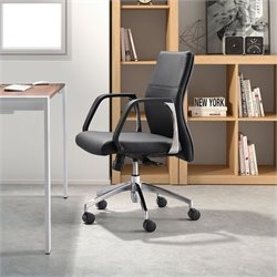 Zuo Conductor Low Back Office Chair in Black