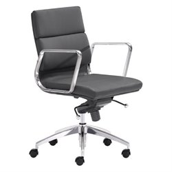 Zuo Engineer Low Back Faux Leather Office Chair in Black