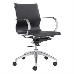 Zuo Glider Low Back Faux Leather Office Chair in Black