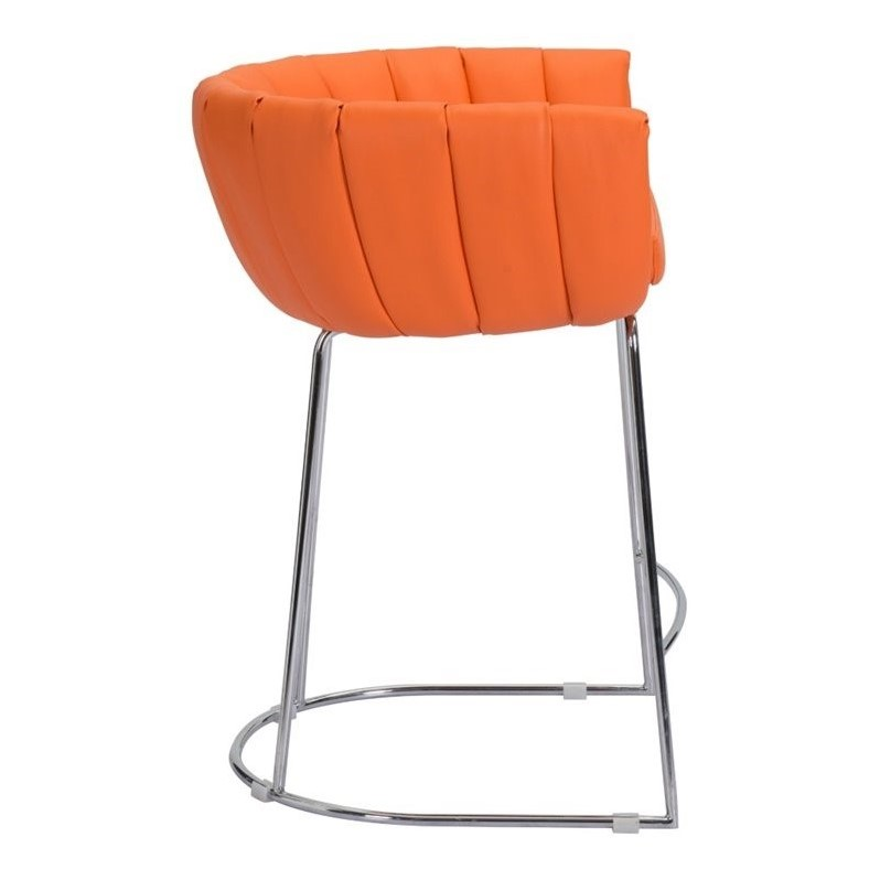 Zuo Latte 32 Quot Faux Leather Bar Stool In Orange Set Of 2
