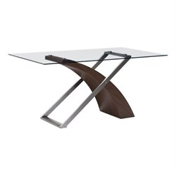Zuo Outremont Glass Dining Table in Walnut