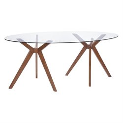 Zuo Buena Vista Round Glass Dining Table in Walnut