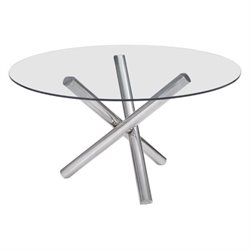 Zuo Stant Round Glass Dining Table in Chrome