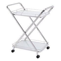 Zuo Vesuvius Glass Kitchen Cart in Silver