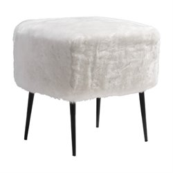 Zuo Fuzz Foot Stool in White