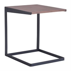 Zuo Sister End Table in Walnut and Black