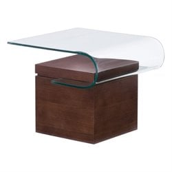 Zuo Mystic Glass End Table in Walnut