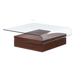 Zuo Mystic Glass Coffee Table in Walnut