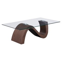 Zuo St Laurent Glass Coffee Table in Walnut