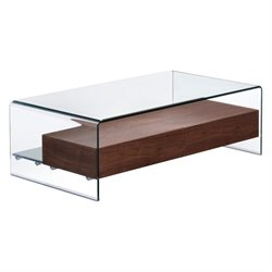 Zuo Shaman Glass Coffee Table in Walnut