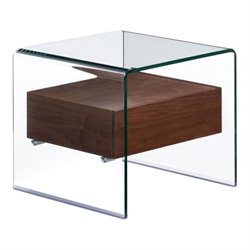 Zuo Shaman Glass End Table in Walnut