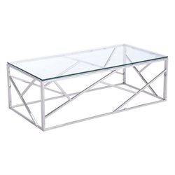 Zuo Cage Glass Coffee Table in Silver
