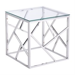 Zuo Cage Glass End Table in Silver