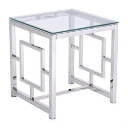 Zuo Geranium Glass End Table in Silver