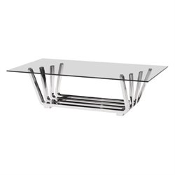 Zuo Fan Glass Coffee Table in Chrome