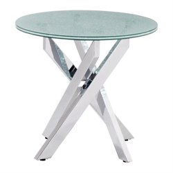 Zuo Stance Glass End Table in Chrome