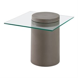 Zuo Monolith Glass End Table in Cement