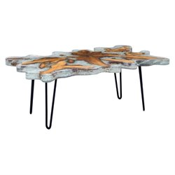 Zuo Jigsaw Glass Coffee Table in Gray
