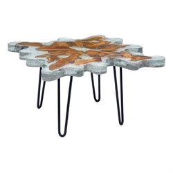 Zuo Jigsaw Glass Square Coffee Table in Gray